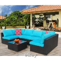 7 Pieces Patio Sofa Set PE Rattan Outdoor Furniture Sectional Conversation Sofas
