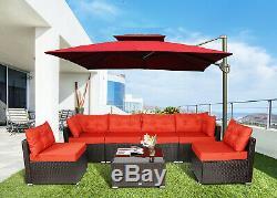 7 pcs Rattan Furniture Sectional Home Outdoor Garden Patio Balcony Sofa Set Red
