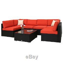 7 pcs Rattan Wicker Sofa Set Sectional Furniture Deck Couch Outdoor Patio Garden