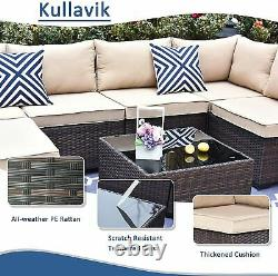 7pcs Outdoor Patio Furniture Set Sofa Set PE Rattan Wicker Sectional Sofa Couch