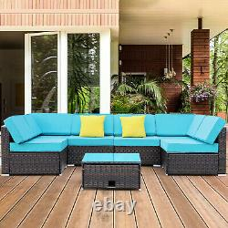 7pcs Outdoor Patio Sofa Set PE Rattan Wicker Cushioned Sectional Furniture Couch