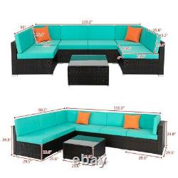 7pcs Outdoor Patio Sofa Set PE Rattan Wicker Sectional Furniture Couch with Pillow