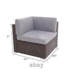 7pcs Outdoor Patio Sofa Set PE Rattan Wicker Sectional Furniture Outside Couch