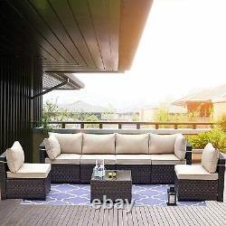 7pcs Patio Furniture PE Rattan Wicker Sofa Set Outdoor Sectional Sofa Set Couch