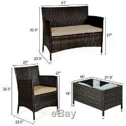 8PCS Rattan Patio Furniture Set Cushioned Sofa Outdoor Coffee Table Garden