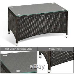 8 PCS Patio Rattan Furniture Set Coffee Table Cushioned Sofa Outdoor Brown