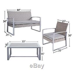 8 PC Outdoor Rattan Wicker Patio Furniture Set Sectional Garden Cushioned Chair