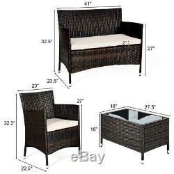 8-Piece Rattan Patio Furniture Outdoor Conversation Set Sofa Chair Coffee Table