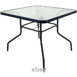 90cm Square Glass Table Outdoor Garden Furniture Patio Furniture Black Metal New