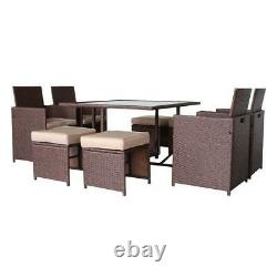 9PCS Outdoor Patio Sofa Set PE Rattan Wicker Sectional Furniture Outside Couch