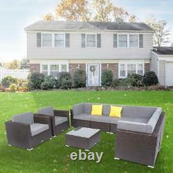 9PC Outdoor Patio Garden Furniture Sectional Sofa Set Wicker Rattan Cushioned
