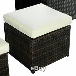 9PC Outdoor Patio Garden Rattan Wicker Sofa Set Furniture Cushioned With Ottoman