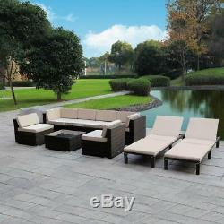 9PC Patio Wicker Sofa Set Outdoor Garden Cushion Rattan Furniture Lounge Couch
