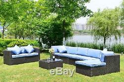 9 PCS Sectional Set Patio Furniture Outdoor Rattan Sofa Wicker Cushioned Seat