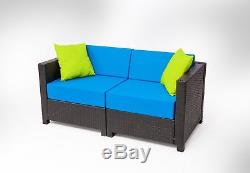 9 PC Outdoor Garden Patio Wicker Rattan Furniture Sectional Aluminum Frame Sofa