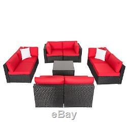 9 PC Patio Wicker Sofa Sectional Set Lounge Couch Garden Outdoor Pool Yard Red
