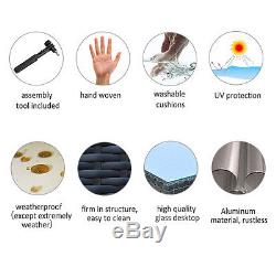 9 Pcs Rattan Wicker Sofa Outdoor Sectional Patio Furniture Lounge Set Aluminum