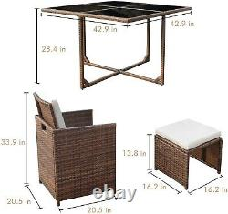 9 Piece Garden or Patio Outdoor Rattan Dining Furniture Set