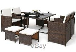 9 Piece Outdoor Patio Dining Set Cushioned Wicker Furniture
