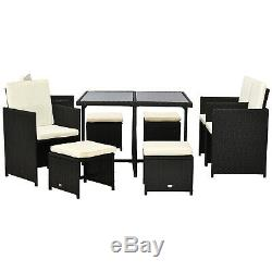 9pc Outdoor Patio Furniture Garden Wicker Dining Set Rattan Table Cushioned Seat