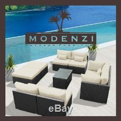 9pc Outdoor Patio Furniture Sectional Rattan Wicker Sofa Chair Couch Set Sand
