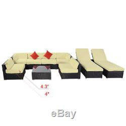 9pc Outdoor Patio Rattan Wicker Sofa Sectional & Chaise Lounge Furniture Set