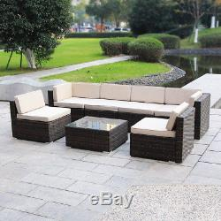 9pc Patio Wicker Sofa Set Outdoor Garden Rattan Furniture Lounge Couch Cushioned