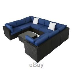 9pcs Outdoor Wicker Rattan Sofa Patio Sofa Furniture Set Sectional Navy blue