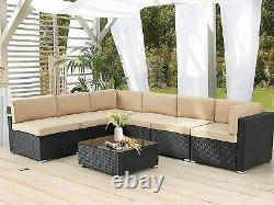 AECOJOY 7pcs Patio Rattan Sofa Set Outdoor Wicker Sectional Furniture with Table