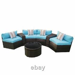 ALEKO Patio Furniture Outdoor Sectional Set with Coffee Table, Pillows