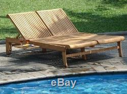 A Grade Teak Double Chaise Sun Lounger Outdoor Patio Garden Pool Furniture -giva