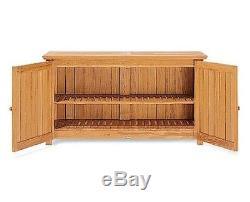 A Grade Teak Wood Pool Storage Box Chest Cabinet Garden Outdoor Patio Furniture