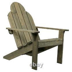 Adirondack Wooden Chair Durable Patio Garden Sun Lounger Natural Outdoor Relax