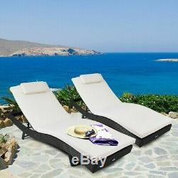 Adjustable Pool Chaise Lounge Chair Outdoor Patio Furniture PE Wicker WithCushion