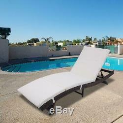 Adjustable Pool Chaise Lounge Chair Outdoor Patio Furniture PE Wicker With Cushion