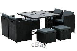 Aluminum Outdoor Wicker Rattan Dining Set Space Saving Patio Furniture 0441