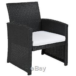 BCP Outdoor Garden Patio 4pc Cushioned Seat Black Wicker Sofa Furniture Set