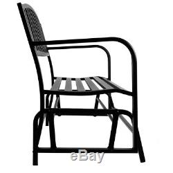Bench Glider Rocking Chair Outdoor Patio Garden Furniture Deck Loveseat, Black
