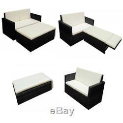 Black Outdoor Patio Sofa Set Garden Furniture PE Wicker Rattan Deck Couch Brown