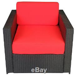 Black Wicker Patio Sectional Outdoor Sofa Chair Furniture Conversation Set 3003