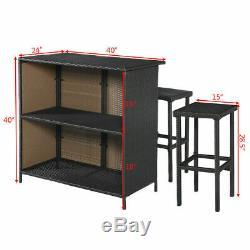 Brand New 3 PCS Bar Set Outdoor Rattan Wicker Table & 2 Stools Patio Furniture