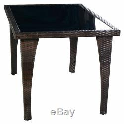 Brown Patio Furniture Outdoor Garden Dining Rattan Wicker Coffee Table