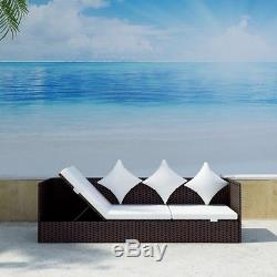 Brown Wicker Patio Sofa Couch Outdoor Rattan Furniture Lounge Cushion Adjustable