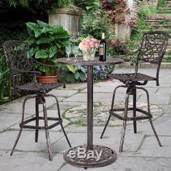 Cast Aluminum Round Bar Table Bar Height Outdoor Patio Pub Bistro Furniture New