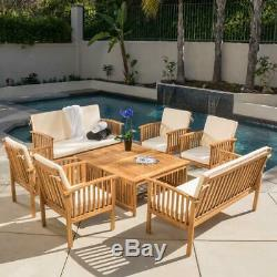 Casual Outdoor Patio Furniture 8-pc Wood Stained Finish Sofa Seating Set Thalia