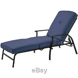 Chaise Lounge Chair Patio Outdoor Furniture Cushion Adjustable Garden Pool Yard