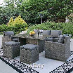 Complete Outdoor Living Patio Furniture 6-Piece Wicker Dining Sofa Set- Grey