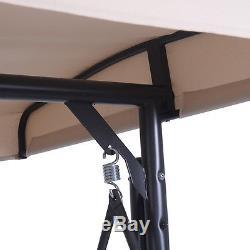 Converting Outdoor Swing Canopy Hammock 3 Seats Patio Deck Furniture Beige