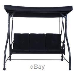 Converting Outdoor Swing Canopy Hammock 3 Seats Patio Deck Furniture Black