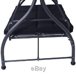 Converting Outdoor Swing Canopy Hammock 3 Seats Patio Deck Furniture Black NEW